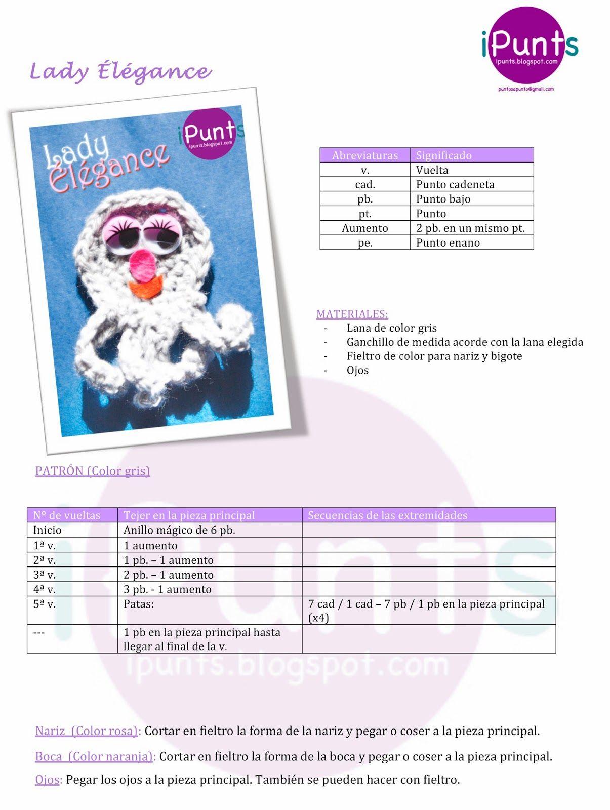 elegance pulpo crochet patrón gratis ipunts | **®®®AMIGURUMI 100 ...