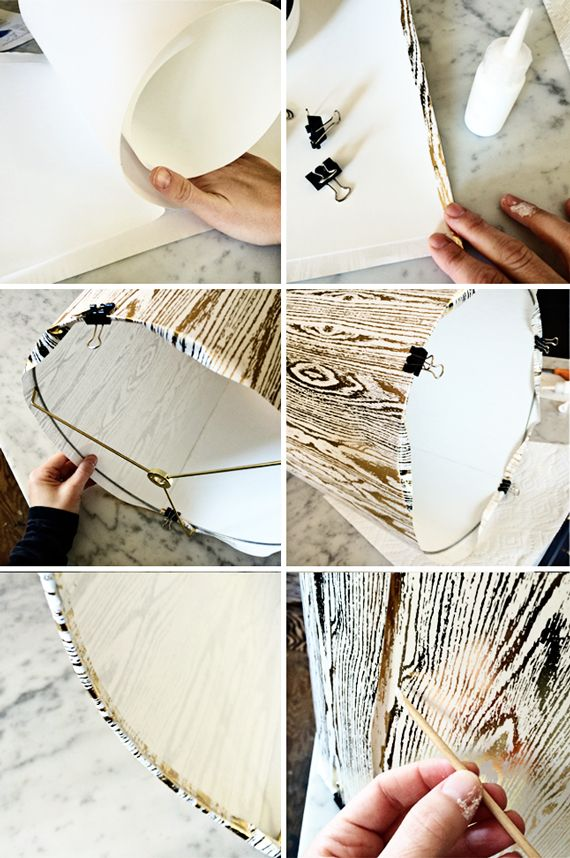 Make a custom drum lampshade using wrapping paper and a DIY ...