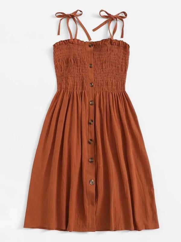Plus Self Tie Shoulder Button Front Lettuce Frill Shirred Dress