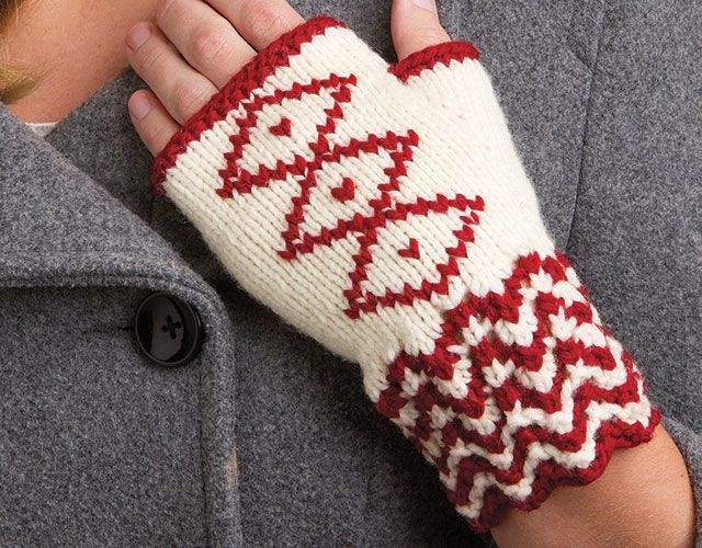 Free Knitting Pattern For Embroidered Fingerless Mitts And More