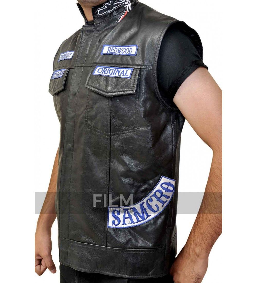 Sons Of Anarchy Jax Teller Biker Vest With Patches Sons Of Anarchy Vest Celebrity Jackets Leather Biker Vest