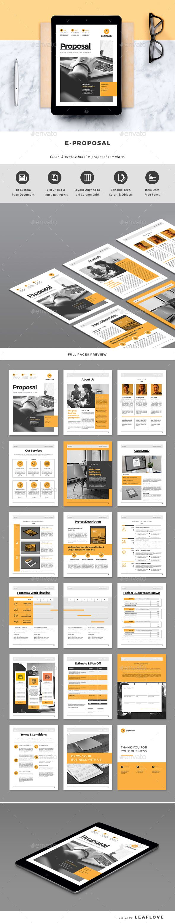E-Proposal Template InDesign INDD | Design Gráfico | Pinterest ...