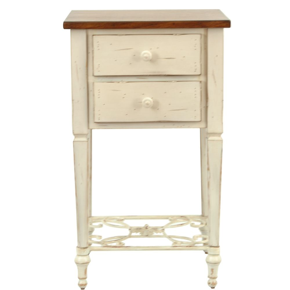 Safavieh monica two drawer antique white and dark brown beech side safavieh monica two drawer antique white and dark brown beech side table overstock geotapseo Images