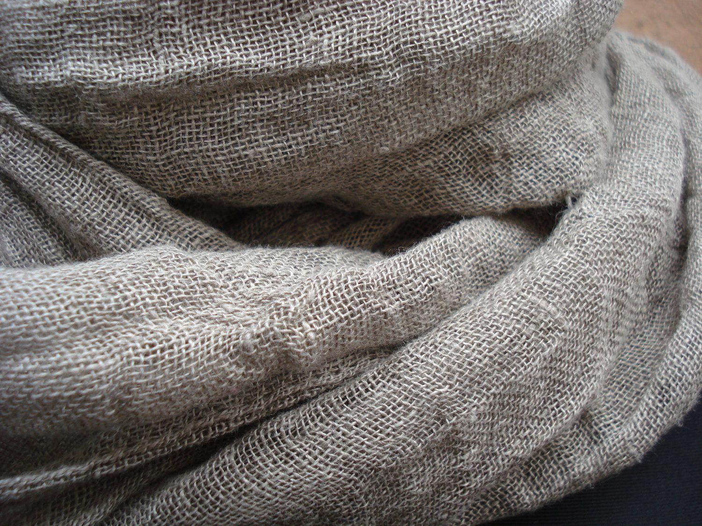 Pure Linen Scarf Lightweight Natural Handmade FREE SHIPPING WORLDWIDE. $27.99, via Etsy.