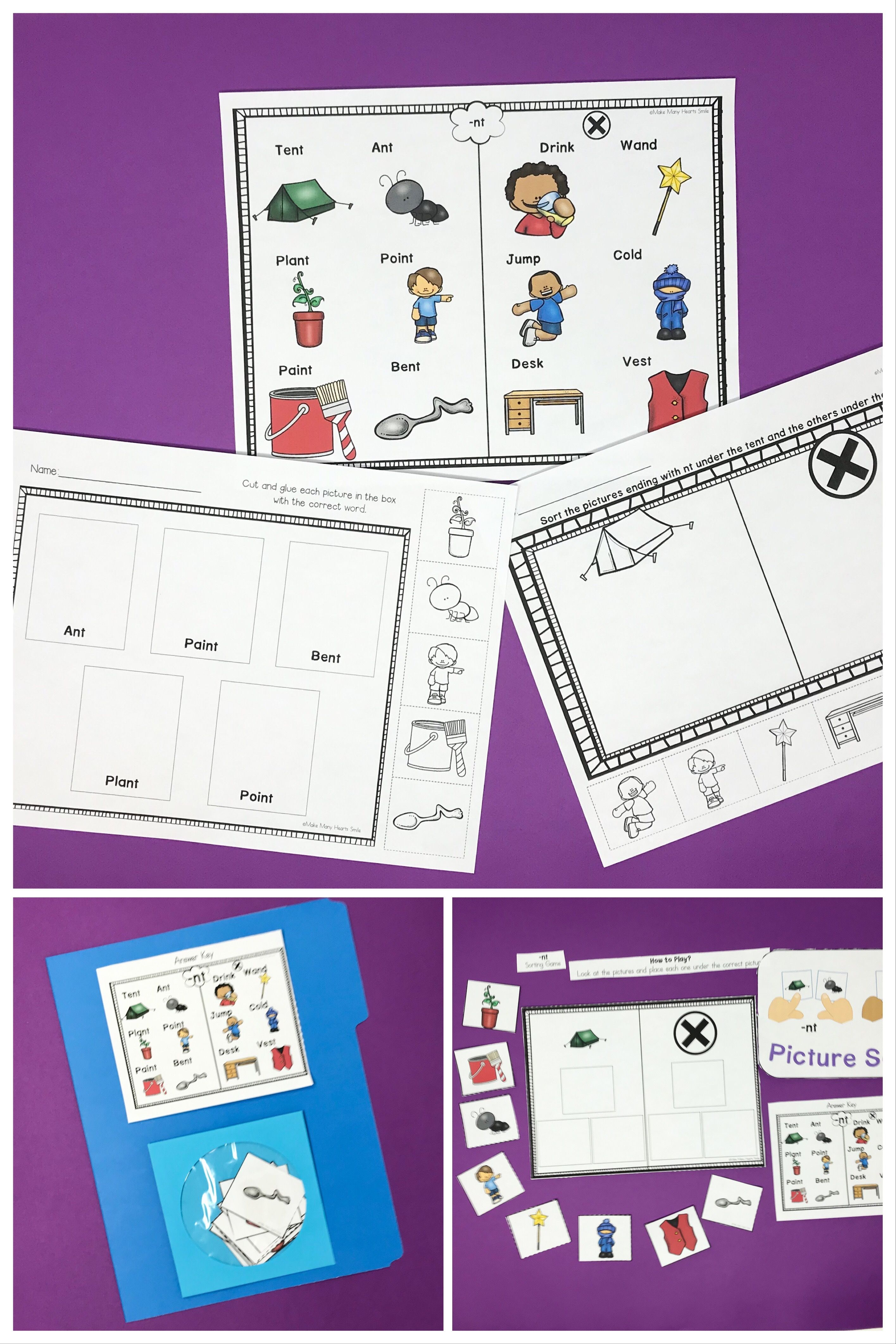 Fun Nt Ending Blend Sorting Practice With Worksheets And A