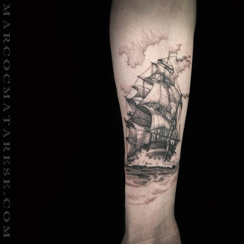 Marco C. Matarese tattoo. Boat, sea, leg | Tattoo design - etching, linework, engraving. | Milan, Italy. #purotattoostudio #marcocmatarese #matarese #incisione #etching #engraving #drawing #lines #blackwork #milano #milan #tatuage #ink #tattoo #tattooist #nero #tatuatore #linework #blackart #acquaforte #blackline #tattooideas #inktattoo #black #crossetching #boat #boat #sea #nature