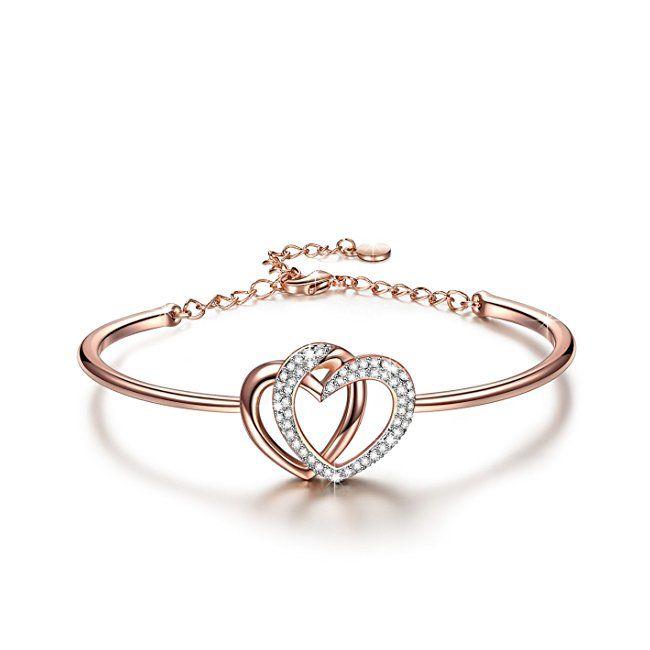 J NINA String of Happiness 14k Rose-Gold & White Gold Plated Bracelet, Nine Circles Design Hand String, Jewellery Gift for Women