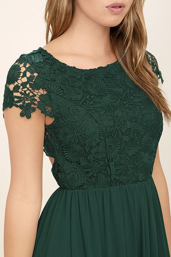 4928dbe550863 Celebrate your timeless beauty in The Greatest Forest Green Lace Maxi  Dress! Stunning floral lace overlays a princess seamed bodice with sheer  cap sleeves ...