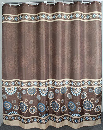 Welwo 78 X 78inch Paisley Polyester Shower Curtain Set Brown