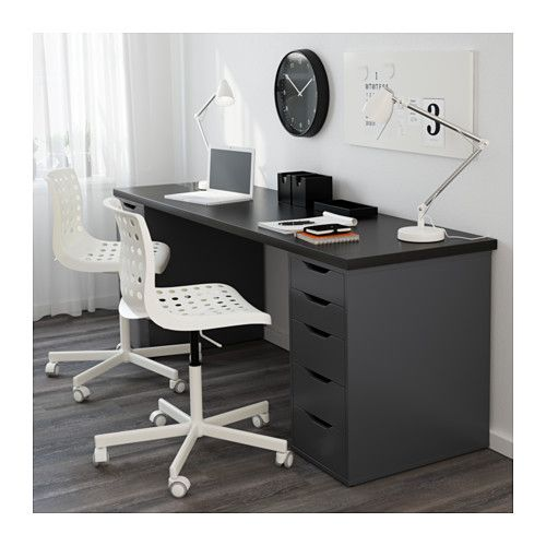 Linnmon Alex Table Black Brown Gray 78 3 4x23 5 8 Ikea Ikea Alex Drawers Drawer Unit Desk With Drawers