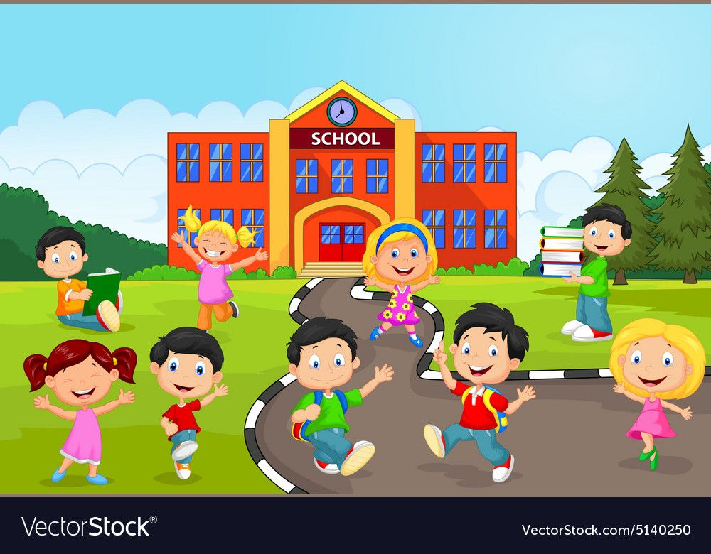 Illustration Of Happy School Children In Front Of School Download A Free Preview Or High Quality Adobe Illu School Illustration Animation Schools Art For Kids