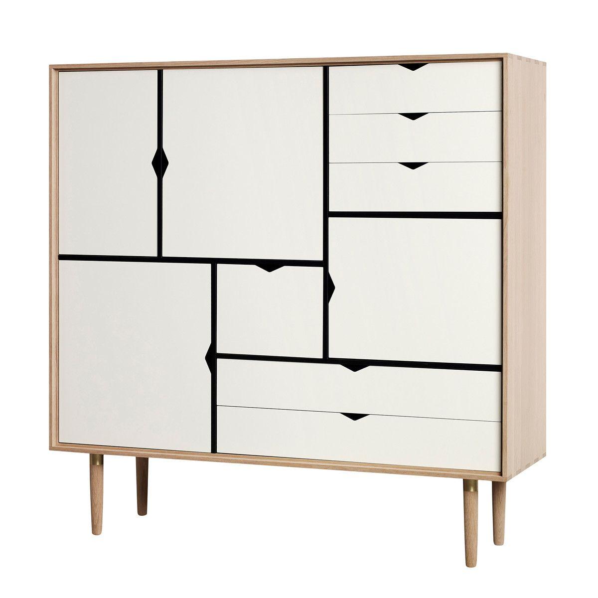 Andersen Furniture – S3 Kommode, Eiche geseift/ Fronten weiß Weiß T ...