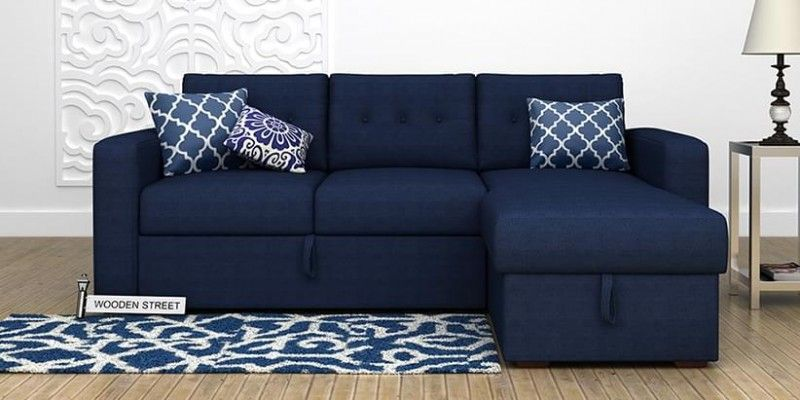 Alfonso Right Arm Convertible Fabric Sofa Bed Blue
