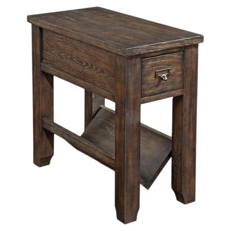 Weathered Brown Side Table With Textured Oak Veneers A