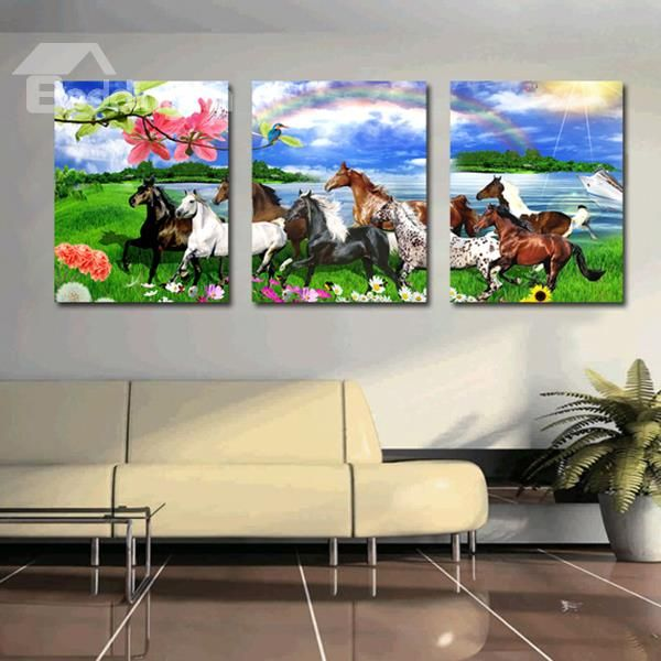 Amazing Horses in the Field 3-Panel Canvas Wall Art Prints ...