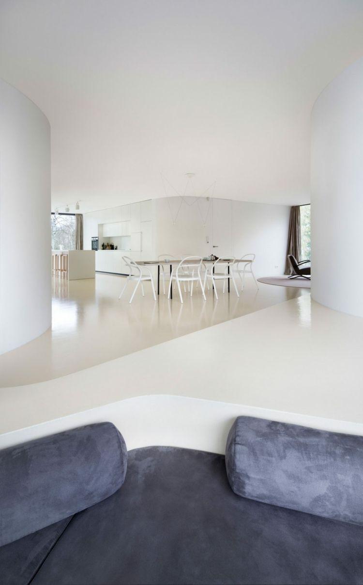 Eingelassene Sitzecke Im Wohnzimmer Im Minimalitischen Stil