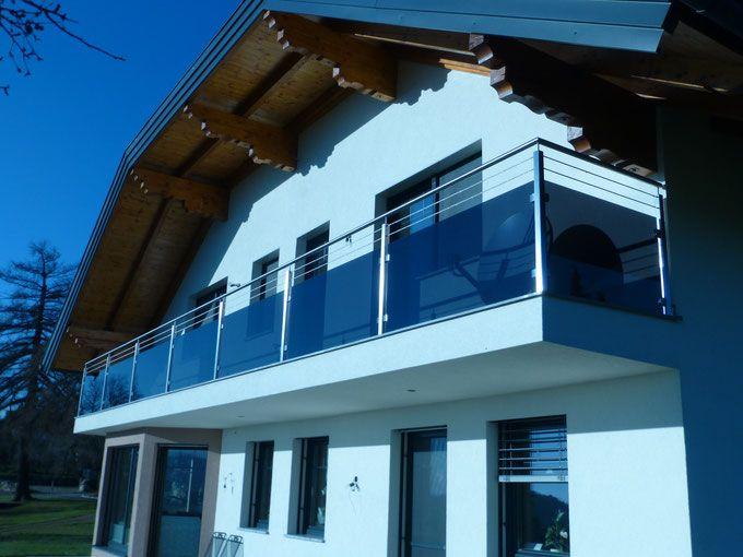 balkongel nder aus edelstahl f llung aus glas grau mit. Black Bedroom Furniture Sets. Home Design Ideas