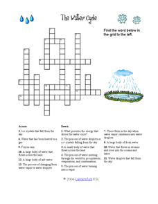 the water cycle crossword puzzle worksheet hot resources 2 4 pinterest worksheets cycling. Black Bedroom Furniture Sets. Home Design Ideas