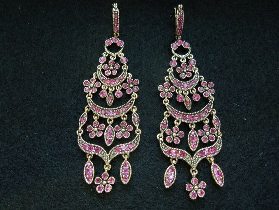 Vintage Monet Earrings. Chandelier Style, Gold tone, Pink Rhinestones, Excellent Condition, Signed  Ask a Question $20.00 USD