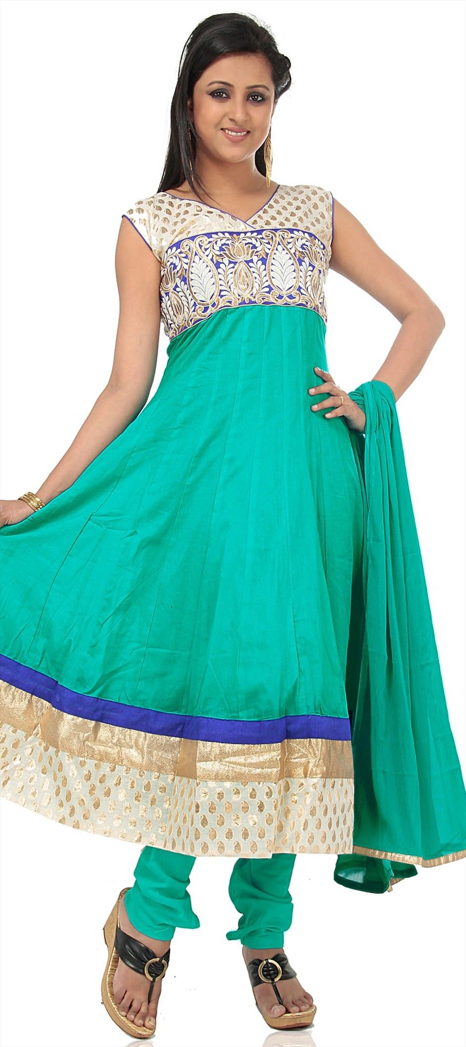 409302: Green color family stitched Anarkali Suits. $51! Yay cotton ;-)