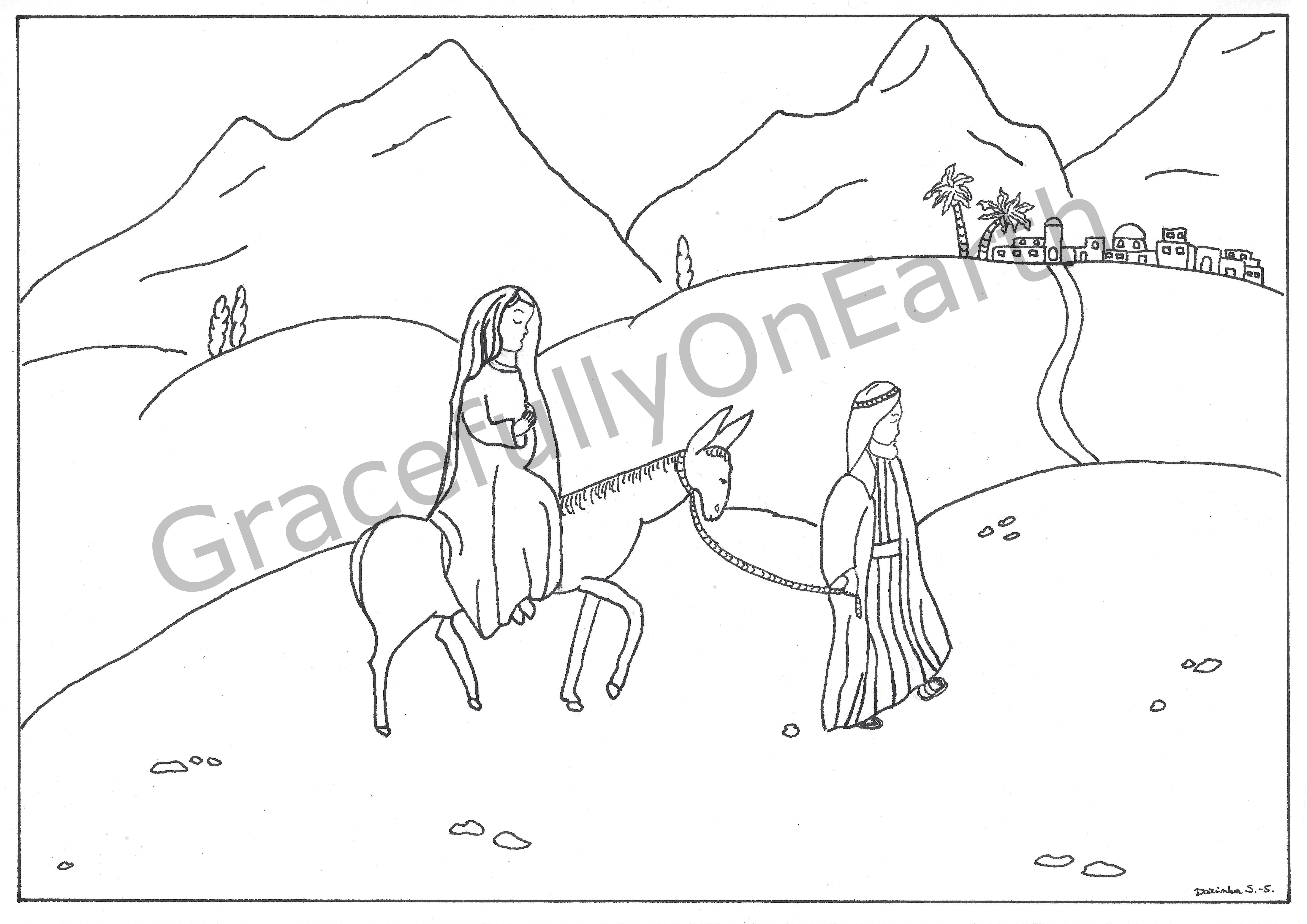 Kleurplaat De Tocht Van Maria En Jozef Naar Bethlehem Advent Serie Tekening Nr 2 Kleurplaten Voor Kinderen Kinderactiviteiten Voor Kinderen