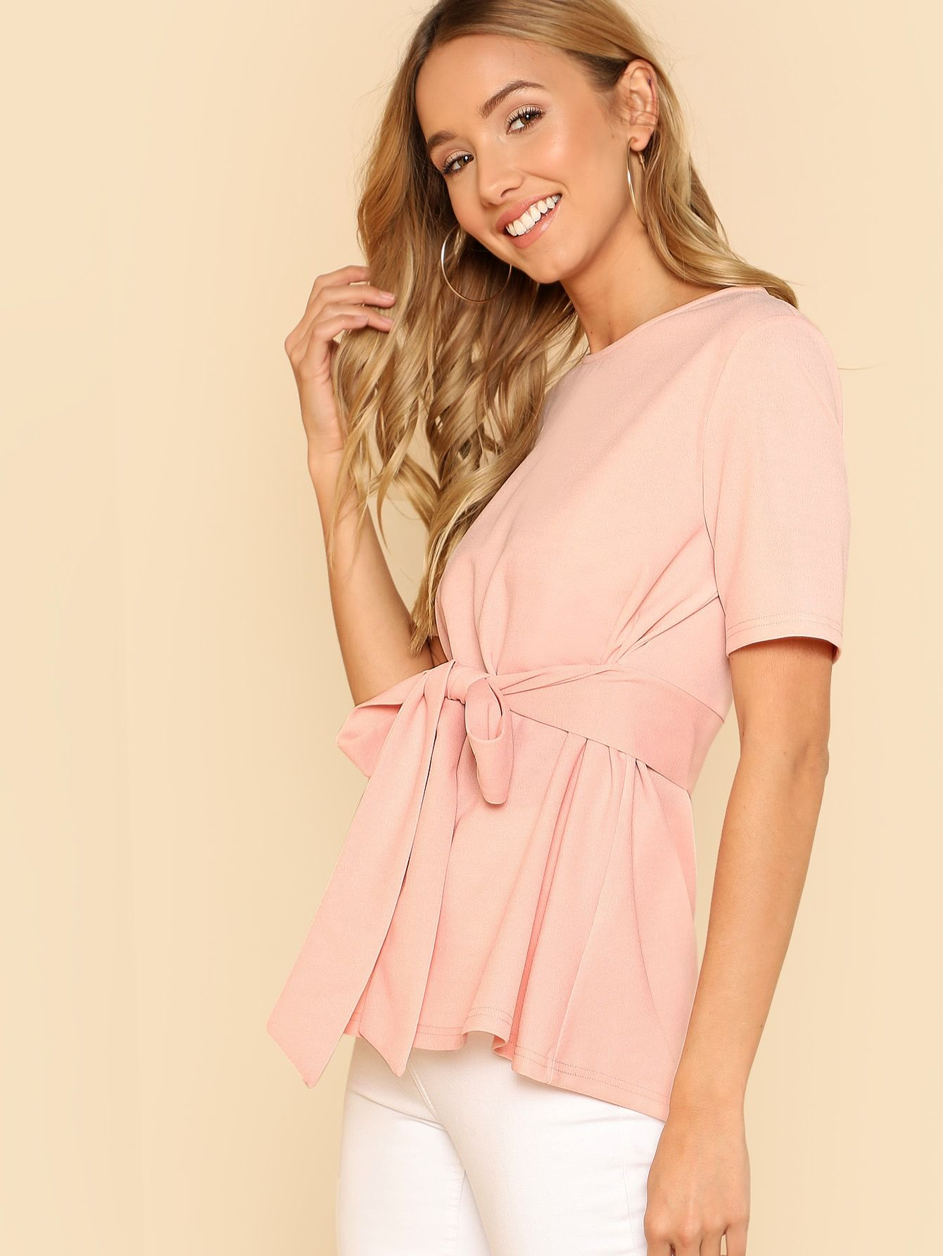 1215d0b120e Elegant Button and Belted Plain Top Regular Fit Round Neck Short Sleeve  Pink and Pastel Self Belt Keyhole Back Solid Top with Belt