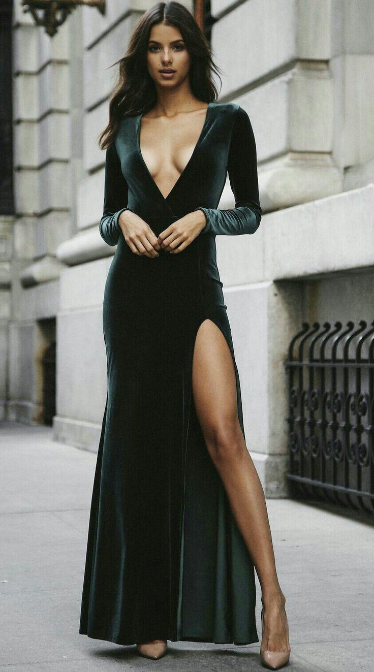 Sexy prom dresslong sleeves party dressdeep vneck evening