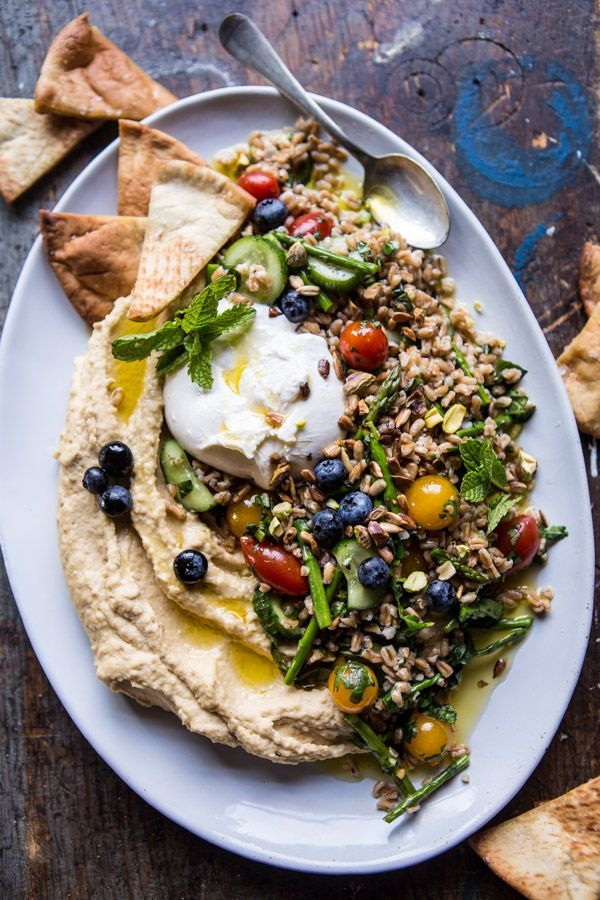 Farro Tabbouleh with Burrata and Hummus. - Half Baked Harvest