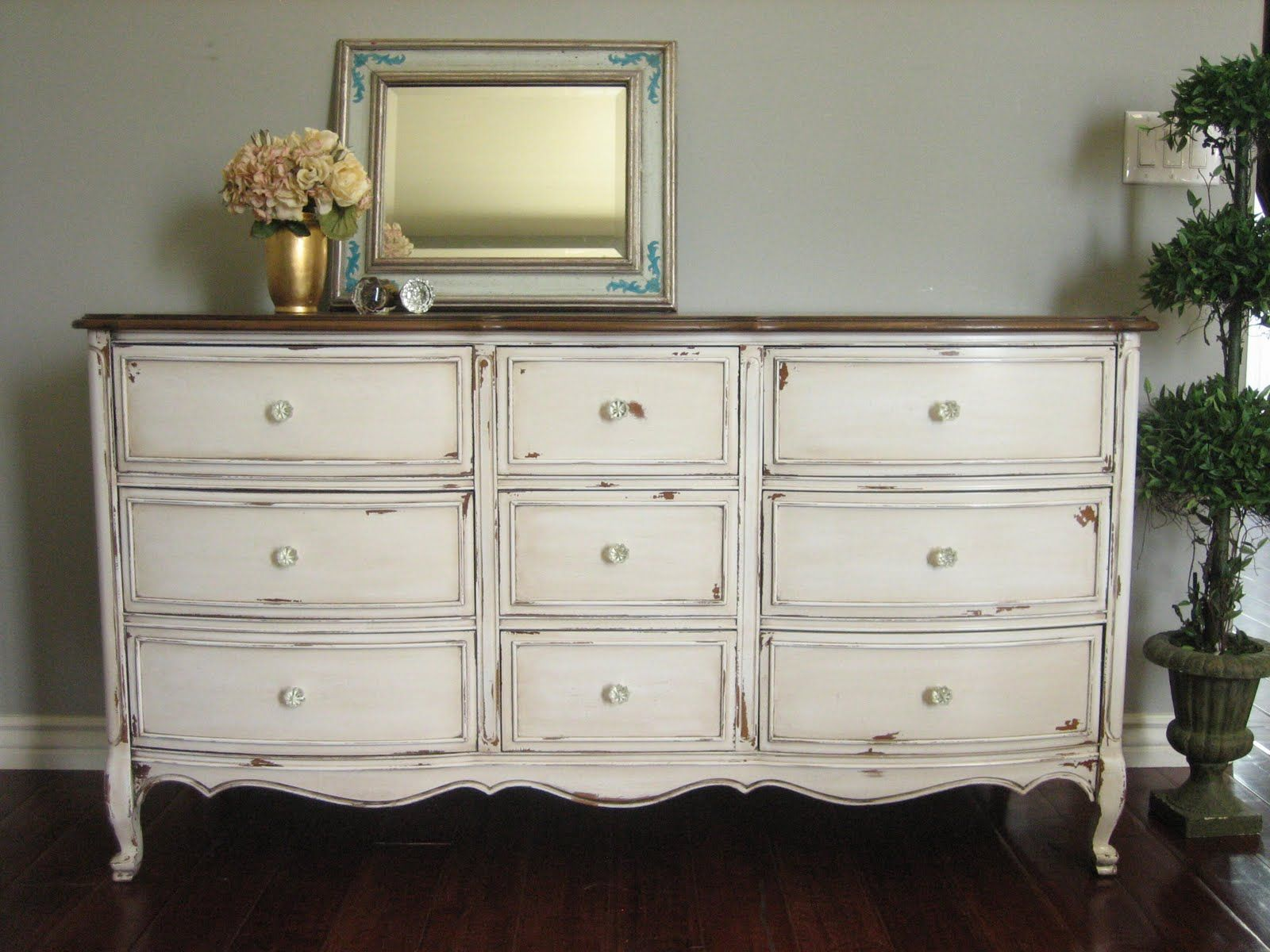 Sold Solid Wood Dresser In An Antiqued Creamy White With A Glazed Chippy