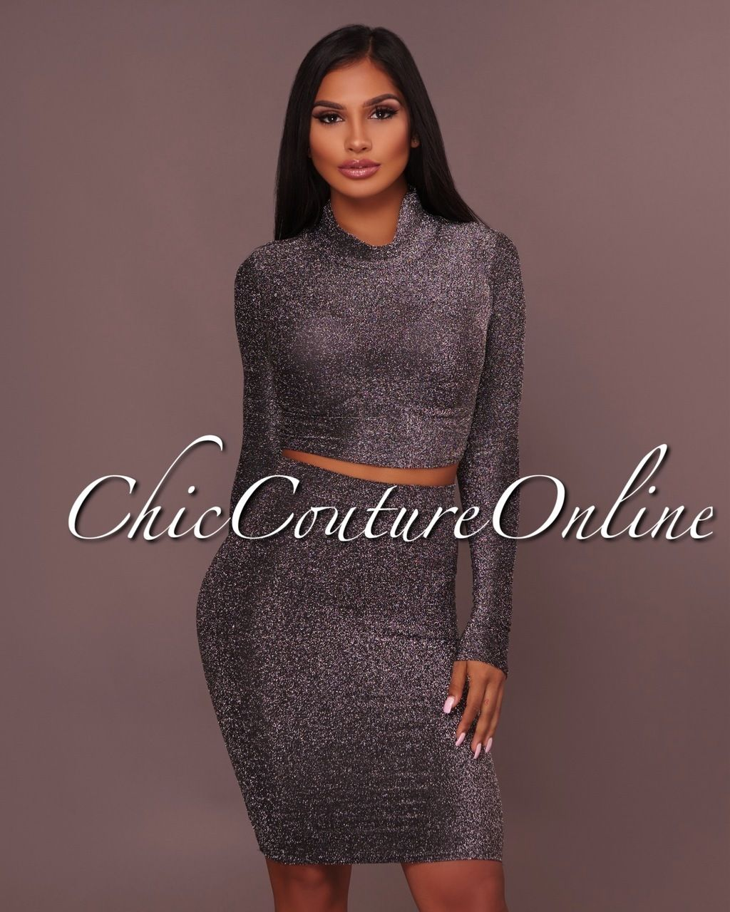 Chic couture online wanda black shimmer two piece set