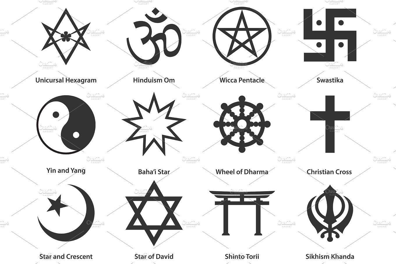 Icon Set Of World Religious Symbols Illustrations 1