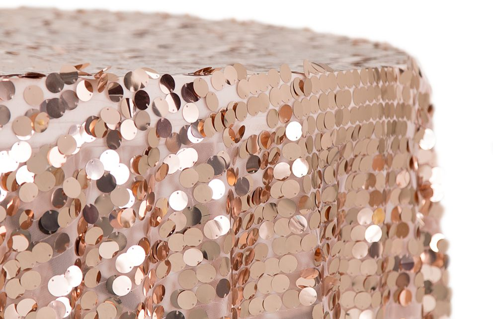 Large Payette Sequin 132 Round Tablecloth Blush Rose Gold With