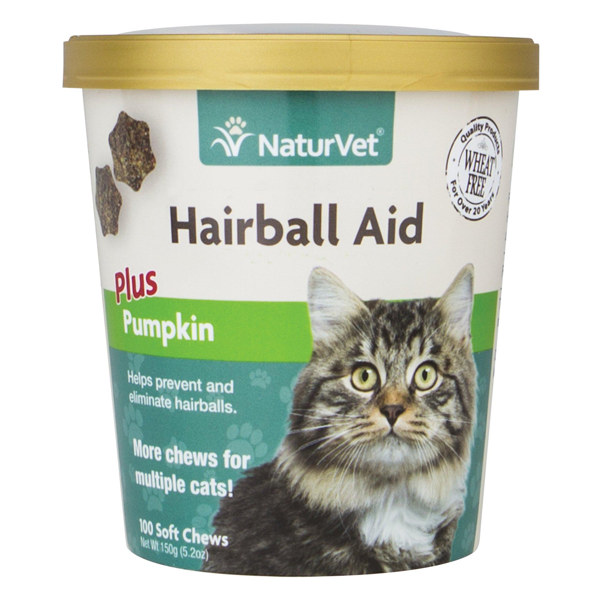NaturVet Cat Hairball Aid Supplement, Pack of 100 Soft