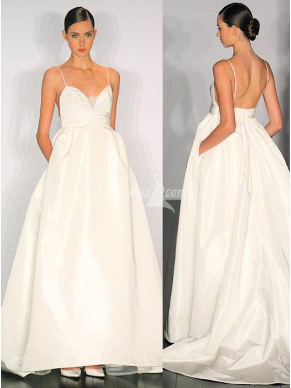 Amazing princess spaghetti straps chic modern wedding for Spaghetti strap wedding dress with pockets