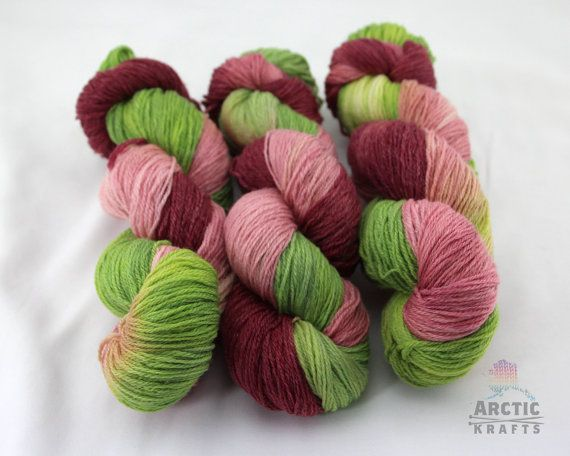 Strawberry Shortcake inspired hand dyed sock yarn by Arctickrafts