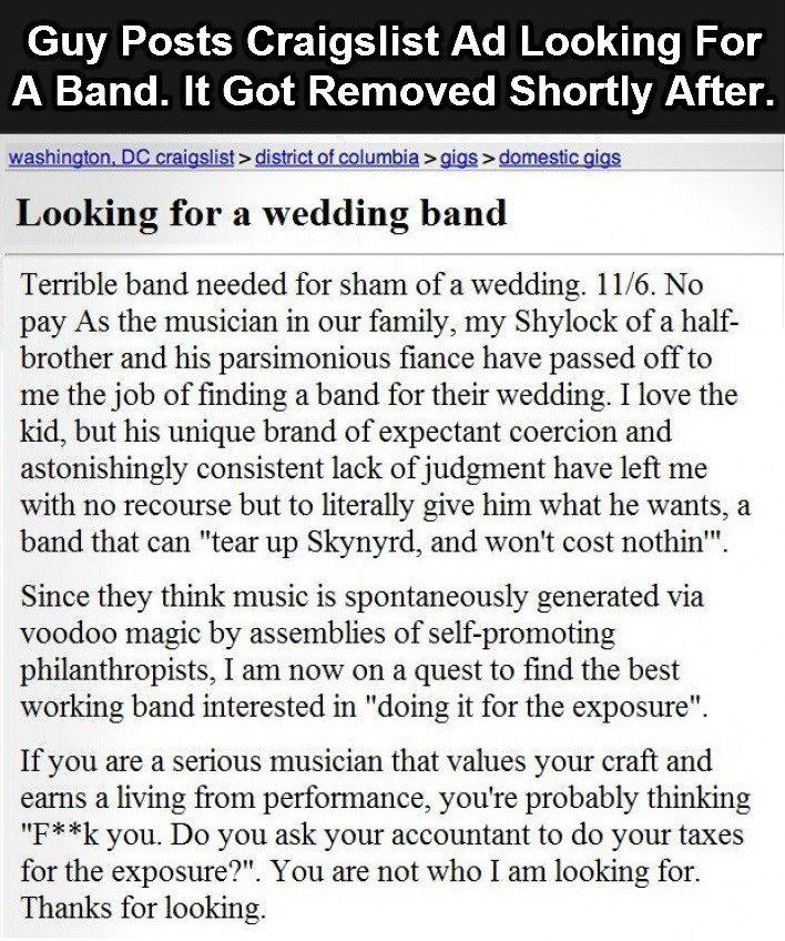 This Craigslist Ad Got Immediately Banned When You Read It You Ll See Why Ads Reading How To Remove