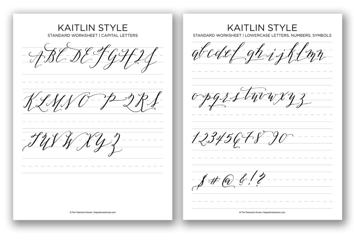 Kaitlin style calligraphy worksheet free printable
