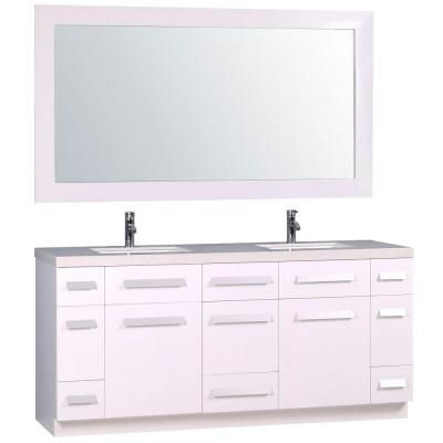 Design Element Moscony 72 in Double Vanity in White with Marble