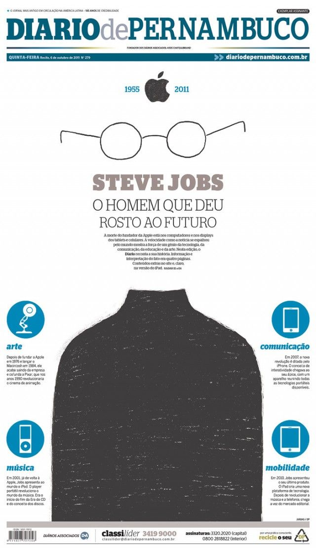This front page contrasts from normal column text with a graphic that creates an outline of Steve Jobs' face with the text, honoring him after his death.