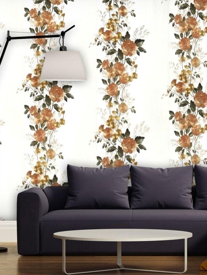 Heavy Vinyl Decorative Wallpaper With Floral Pattern 57 Sq Ft Wallpaper Decor Floral Wallpaper Buy Wallpaper Online