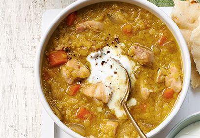 Soupe poulet et lentilles au cari