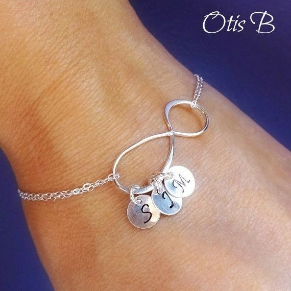 Personalized Infinity Bracelet With Initials Mothers Sterling Silver Initial Family Sisters Best Friends This
