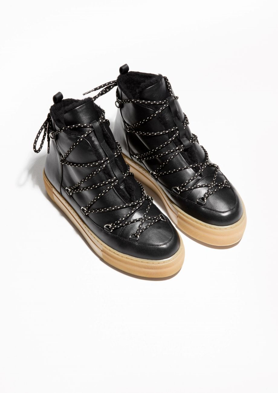 Other Stories image 2 of Leather Snow Boots in Black  cea61c62eb774