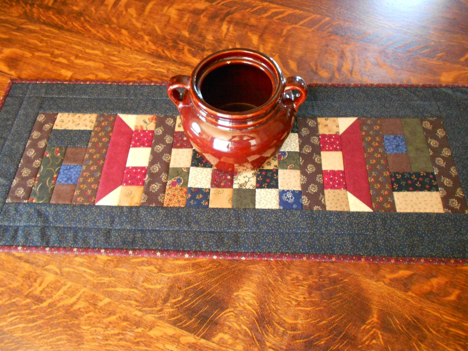 Country Colors Quilted Table Runner House Pattern/ Scrap Quilt by RubysQuiltShop on Etsy