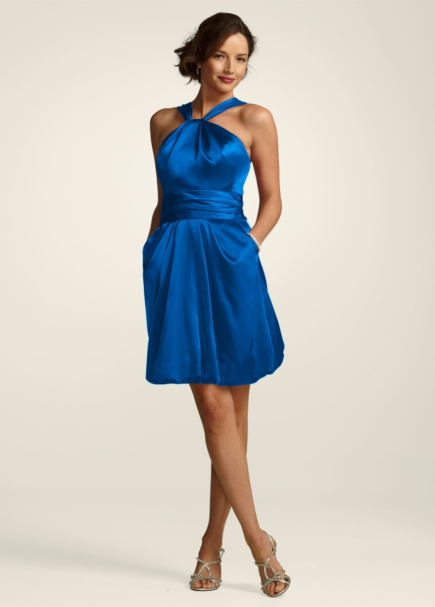 Horizon Blue Bridesmaid Dress with a white middle band ...