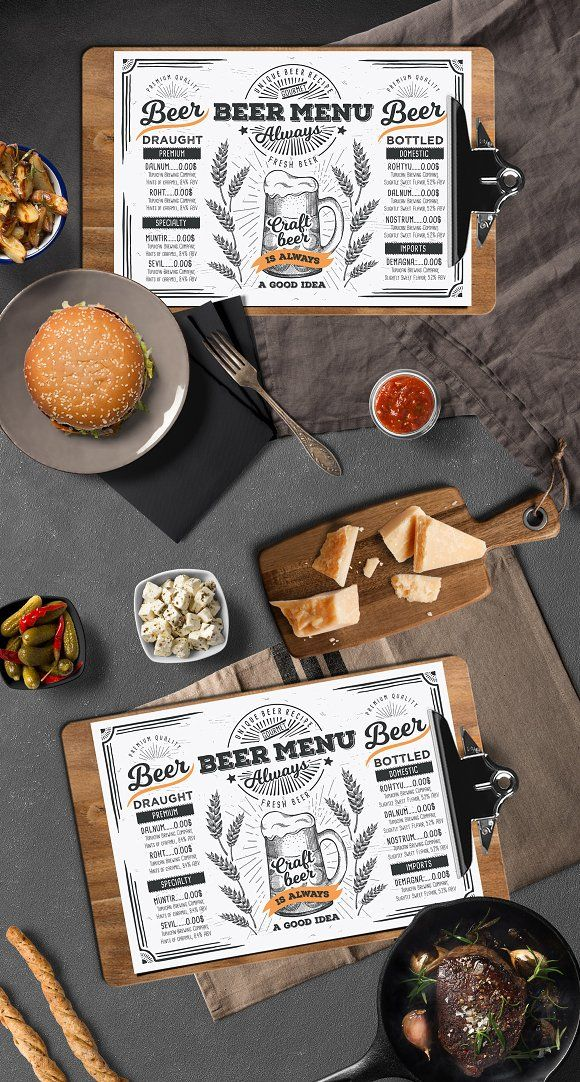 Beer Menu Template Creative and modern food menu templates for - beer menu