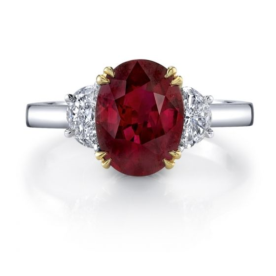 Omi Prive Ruby and Diamond 3-Stone Ring. Style RC1261-RUOV