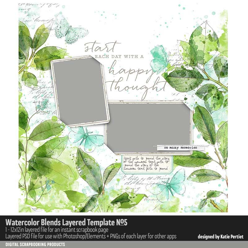 Watercolor Blends Layered Template No 05 Watercolor Page