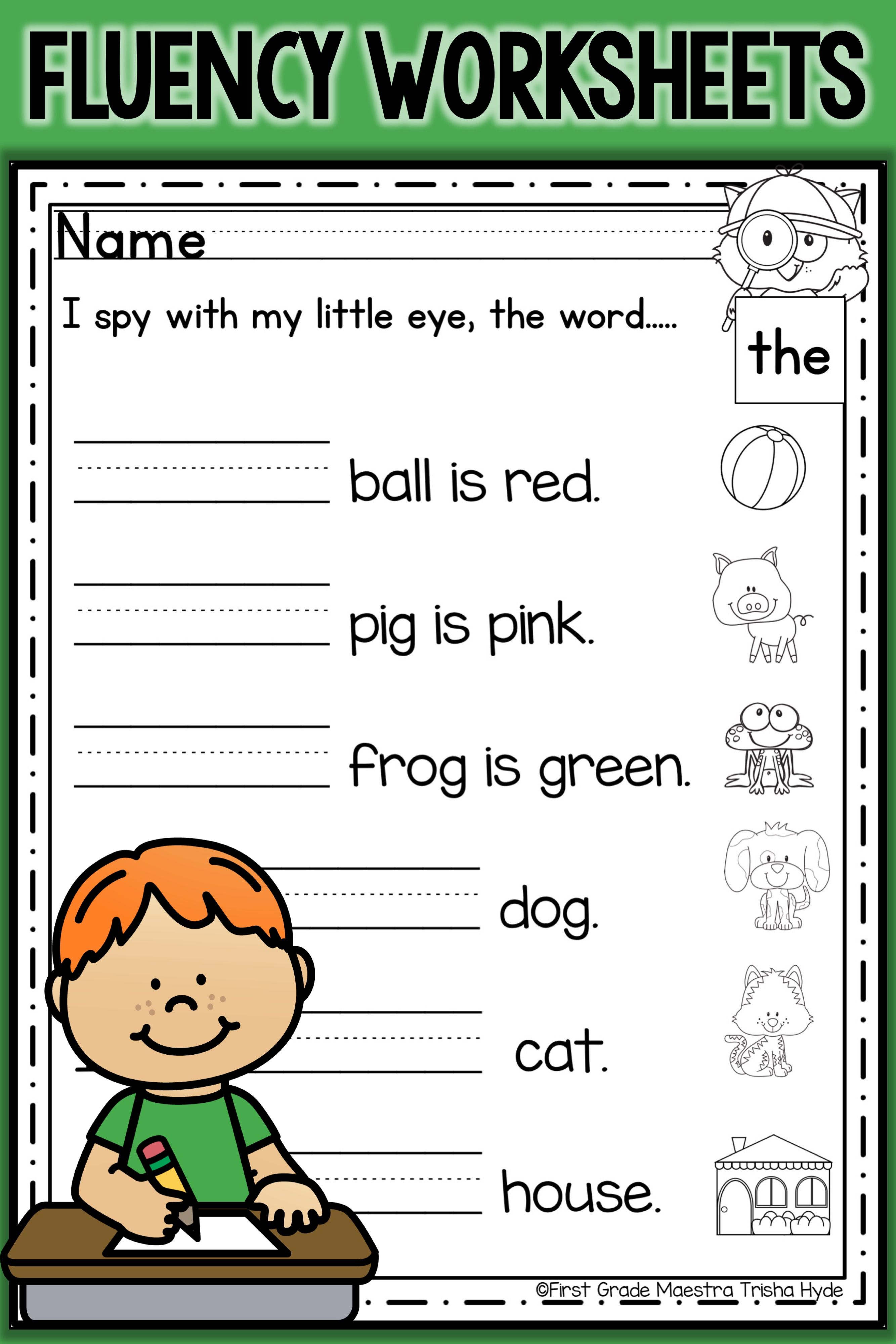 Sight Word Fluency Worksheets Fry S First 50 Words