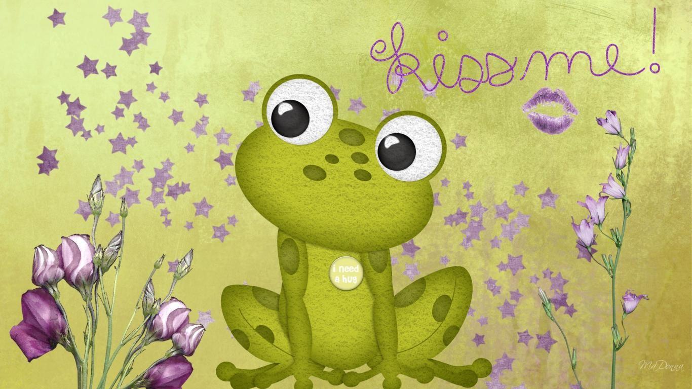 Hd frog cartoon wallpaper frog green kisses stars - Frog cartoon wallpaper ...